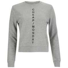 Cheap Monday Women's Diagonal Logo Win Sweatshirt ($64) ❤ liked on Polyvore featuring tops, hoodies, sweatshirts, grey, logo tops, pattern tops, print sweatshirt, cheap monday and patterned sweatshirt
