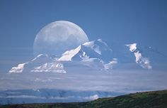 Moon over Mount McKinley