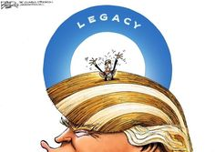 Nate Beeler cartoon about Trump following Obama.  Cartoons available for download: https://www.morecontentnow.com/cartoons/