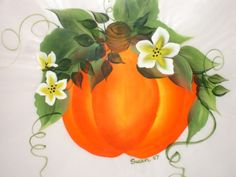 Pumpkin.  One Stroke Painting by Susan Earl.