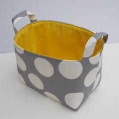 Fabric Organizer Bin Storage Container Basket  Gray by BaffinBags, $18.00