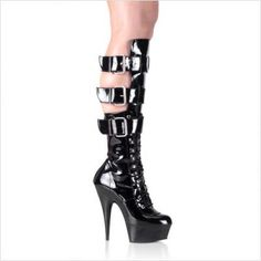 $61.34 Women's 5 3/4 Inch Lace-Up Platform Boot With Triple Straps, Side Zipper (Black/Black;10) - 5 3/4 Spike Heel Calf Boot Women's Size Shoe With Buckles. http://www.amazon.com/dp/B000YQU2N0/?tag=icypnt-20