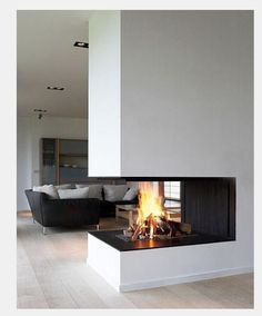 3 sided fireplace. flush clean install.