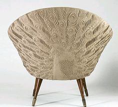 Danish tub peacock chair; I'm digging this in ivory because the surface relief texture takes on more importance. For the Salon! Designer: Helen Amy Murray