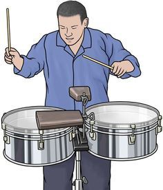 Timbales or pailas are shallow single-headed drums with metal casing. They are shallower than single-headed tom-toms, and usually tuned much higher, especially for their size The player (called a timbalero) uses a variety of stick strokes, rim shots, and rolls to produce a wide range of percussive expression during solos and at transitional sections of music, and usually plays the shells of the drum or auxiliary percussion such as a cowbell or cymbal to keep time in other parts of the song. Grayscale Image, Royalty Free Clipart, Latin Music, Pastel Drawing, Drums, Clip Art, Cooking, Illustration, Musical Instruments