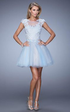 La Femme - 20781 Embellished Illusion Bateau A-line Dress Tulle Dress, Satin Dresses, Dress Skirt, Grad Dresses, Short Sleeve Dresses, Ball Gowns Prom, Prom Ballgown, Girly Outfits, Pretty Dresses