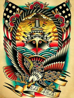 Dead Ahead Canvas Giclee by Tyler Bredeweg American Traditional Nautical Tattoo Traditional Tattoo Canvas, Traditional Nautical Tattoo, Traditional Tattoo Design, Traditional Tattoos, Tatuagem Old Scholl, Dessin Old School, Navy Tattoos, Graffiti, Sailor Jerry