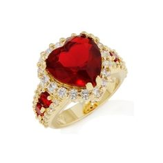 Justine Simmons Jewelry Simulated Ruby and Clear CZ Heart Ring at... ($25) ❤ liked on Polyvore featuring jewelry, rings, red, red ring, heart shaped ruby ring, heart ring, fake jewelry and cz jewellery