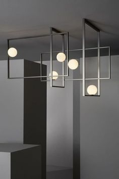 VeniceM Mondrian Ceiling Light by Massimo Tonetto in Glass and Metal - Beleuchtung Interior Lighting, Home Lighting, Modern Lighting, Lighting Design, Living Room Lighting Ceiling, Lighting Ideas, Room Lights, Ceiling Lights, Glass Ceiling