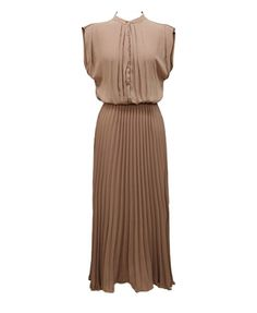 Retro Pleated Ankle Dress in Chiffon