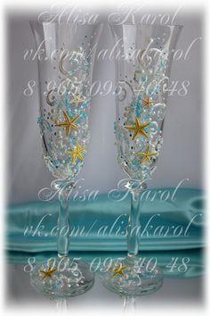 Beach wedding toasting flutes, starfish wedding glasses, destination wedding idea, bridal shower gift(ANY COLOR)