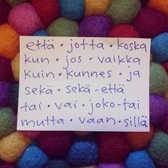Blogissa on postaus konjunktioista! #learningfinnish #studyingfinnish #teachingfinnish #finnishlanguage #konjunktio #conjunction #finska #финский #finnois #finnisch Finnish Language, Languages, Finland, Study, Teaching, Travel, Instagram, Ska, Idioms