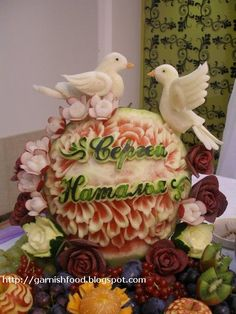how to carve birds out of vegetables