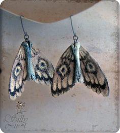 bone moth earrings - ooak, science, entomology, gothic, victorian, neovictorian, mourning, dark romance, macabre, weird