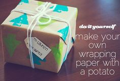 Potato Stamp Gift Wrap: No one will know you used a potato to make these colorful stamps. To carve out the shape, follow these steps.