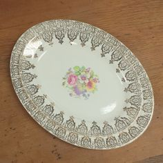2 Stetson Oval Platters ~ Pink Purple Floral Center ~ Mix and Match China ~ 22 kt Gold Rimmed Servers Dishes Plates