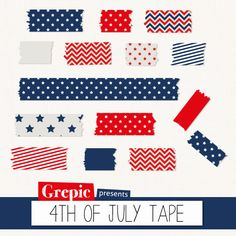 Digital Washi Tape 4TH OF JULY washi tape blue and red by Grepic  https://www.etsy.com/listing/153903579/digital-washi-tape-4th-of-july-washi?ref=shop_home_active_19