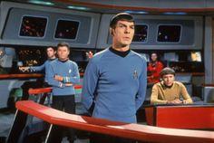 Spock on the bridge of the Enterprise.