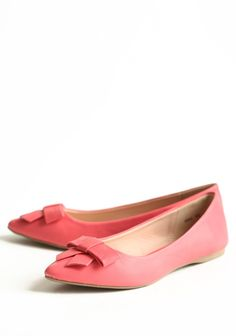 Iris Bow Flats In Coral | Modern Vintage Shoes