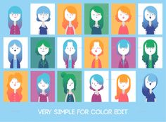 Set of Flat style female characters with gradient color and all vector elements, Choose from 18 hairstyles, 9 outfits, 4 glasses styles and various of characters face conbinations Make your own ch. Make Your Own Character, Simple Character, Avatar Characters, Female Characters, Flat Design Illustration, Digital Illustration, Female Avatar, Flat Style, Graphic Novels