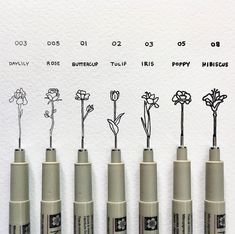 Set of 7 Sakura Pigma Micron Pens - Which flower swatch by BryanTheGirl Adams is your favorite? – You can get quality - Drawing Tutorials, Drawing Tips, Sakura Pigma Micron, Girl Pose, Illustration Simple, Swatch, Sakura Pens, Budget Planer, Detailed Drawings