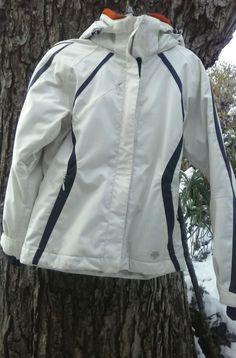 Descente women's ski jacket sz 8 insulated/waterproof- faux fur trim hood-white #Descente #BasicJacket