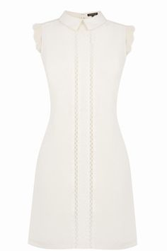 This sleeveless dress features a peak collar, shift cut, lace inserts and zip and hook fastening at the back