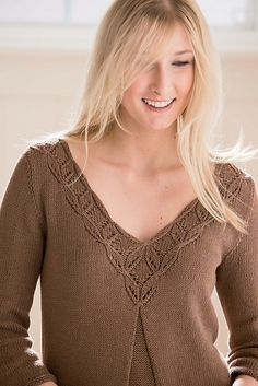Lovely neckline! Ravelry: Prow Pullover pattern by Angela Hahn