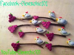 Polymer clay birds on branches with grapes!