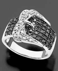 Diamond Ring, Sterling Silver Black and White Diamond Buckle (3/4 ct. t.w.) - Rings - Jewelry & Watches - Macy's