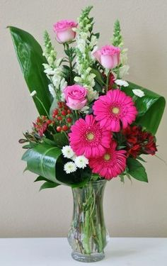 Pink roses and pink gerberas in this vase of pink and white flowers by Willow Branch Florist of Riverside Valentine Flower Arrangements, Large Flower Arrangements, Flower Arrangement Designs, Valentines Flowers, Fresh Flower Arrangement, Flower Designs, Gladiolus Arrangements, Ikebana, Flower Bouquet Diy