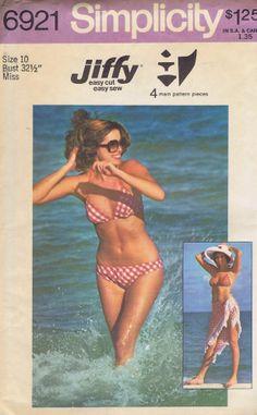 "Bikini Shawl SEWING PATTERN VINTAGE SIMPLICITY SIZE 6921 BUST 32.5 HIP 34.5"" CUT"