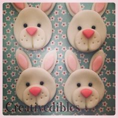 Bunny Fondant Cupcake, Cookie Toppers by creativedibles on Etsy Fondant Cake Toppers, Fondant Cupcakes, Cupcake Cookies, Cupcake Toppers, Animal Cupcakes, Easter Cupcakes, Cute Cupcakes, Spring Cupcakes, Vegan Shortbread