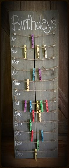 Birthday calendar board wall hanging with colored clothespins - Hand painted, NO. Hand Made , Birthday calendar board wall hanging with colored clothespins - Hand painted, NO. Birthday calendar board wall hanging with colored clothespins - Ha. Fun Diy Crafts, Home Crafts, Handmade Crafts, Vinyl Diy, Birthday Calendar Board, Classroom Birthday Board, Preschool Birthday Board, Family Birthday Board, Diy Birthday Board