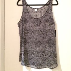 Sheer black patterned tank Sheer tank in pretty black pattern! Definitely need a cami or bra top underneath, but looks great! Light and airy for summer! Old Navy Tops Tank Tops