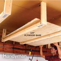 Suspended Shelving (Photo 3): Cut 3/8-in. plywood for the shelf base and attach it to the 2x4 shelf supports with 1-in. wood screws.  DETAILS:  Finish the shelf unit by attaching a 3/8-in. x 4-ft. x 6-ft. plywood floor (Photo 3).