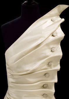 Fabric manipulation: Stunning silk taffeta dress by Antony Price, 1986.