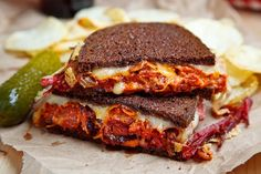 Kimchi Reuben Sandwich - I love Ruben sandwiches and I really like kimchi, but I have never thought of combining the two. Because kimchi can be a little spicy (hot), you might want to start with a lesser amount and taste test - you can always add more. Reuben Sandwich, Corned Beef Sandwich, Cheese Sandwich Recipes, Grilled Sandwich, Sandwich Ingredients, Cheese Burger, Bruschetta, Crostini, Empanadas