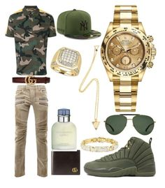 """Casual"" by pitbull8382 on Polyvore featuring Balmain, Valentino, Gucci, Dolce&Gabbana, Rolex, New Era and Marco Ta Moko"