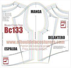 Blusa BC133 Crop Top Manga Larga | EL BAÚL DE LAS COSTURERAS