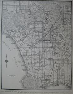 1939 Vintage Los Angeles Map