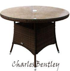 Charles Bentley Garden Indoor Outdoor Round Rattan Dining Table