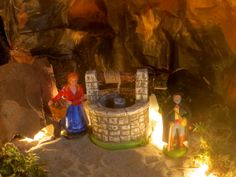 """""""God Through Anne Terri With The Holy Spirit: Woman by well in Christmas Nativity Scene."""