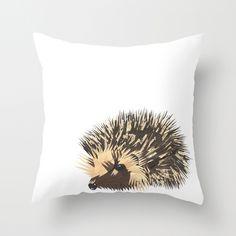 Little Hedgehog Throw Pillow $20.00 - http://society6.com/madiillustration/Mister-Hedgehog_Pillow
