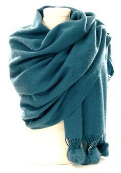Etole laine et fourrure bleu canard - Etole laine - etolepassion