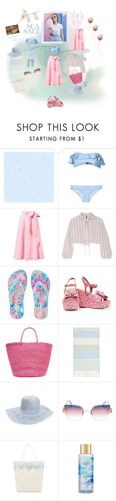 """""""Blue and Pink Color Palette"""" by onesweetthing ❤ liked on Polyvore featuring Lisa Marie Fernandez, Lilly Pulitzer, RED Valentino, Sensi Studio, Linum Home Textiles, Hinge, Fendi, Victoria's Secret, Pink and Blue"""