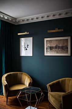 Velvet Goldmine: Maximalist Glamour at Hôtel Providence in Paris (Remodelista: Sourcebook for the Considered Home) Dark Living Rooms, Living Room Green, Living Room Paint, New Living Room, My New Room, Living Room Decor, Dark Rooms, Dining Room, Green Rooms