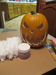 Hello to my fellow haunters!!!I just finished a small project known to many as Pumpkin Corpsing. I watched the HAUNTCAST how-to-video which helped me out alot. I have purchased several foam pumpkins at Michaels over the years and thought I would try the Corpsing effect. I have some Funkins laying around so I may try Corpsing one of those bad boys. After laying on the latex and cotton it looked pretty good, but after it dried, there were more orange spots than latex and cotton. It stil