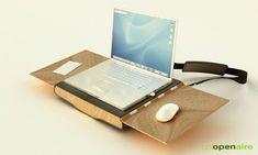 Portable Workstation Combines Chair + Desk + Laptop Bag. When going mobile doesn't mean sacrificing work productivity.