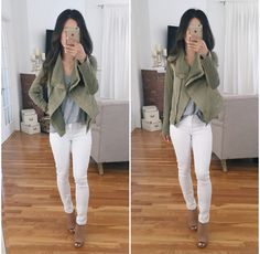 casual fall fashion // olive green drape army jacket, white jeans, tan peep toe…